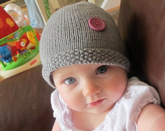 Baby Knitted  Hat Large Button.  Child Cotton Hat, Baby Wool Hat, Baby Wool-Blend Hat, Free Shipping With Purchase Of Another Item