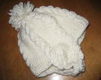 Child Winter Hat, Knit Hat, Hat Size 1-2 Yrs Old, Cable Knit Hat, Wool-Blend Hat, Ready to Ship Hat, Cream Winter Hat