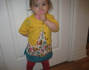 Cotton Cardigan Sweater Girl /Toddler/Summer Sweater/ Sizes 2 - 3/4/ Knit/Red /Blue/ Green/ Yellow /Purple/ Cream/White