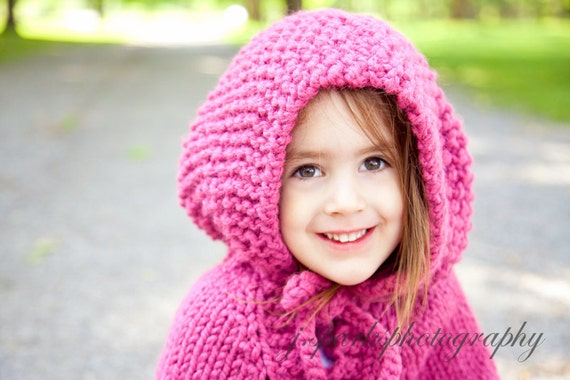 Childs Poncho With Hood Raspberry Knitted In A Wool-blend Size 2 Ready To Ship  Sale