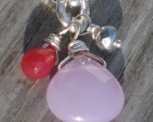 Pink Jade and Lavender Chalcedony Pendant Necklace