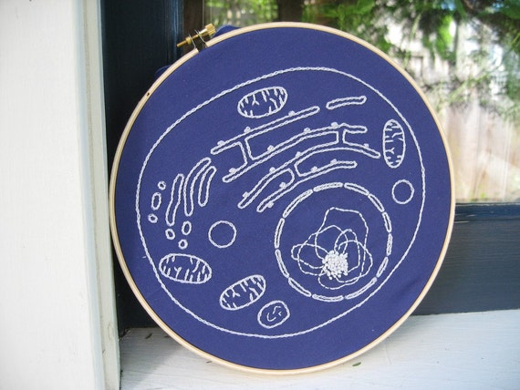 DIY Embroidery Kit, Cell Biology Blueprint, glow in the dark thread, Science craft, geeky gift, science nerd textile craft. Cell Diagram Art