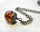 Vintage Amber Acorn Necklace Coro -Extremely Rare Upcycled Last One