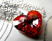 Red Heart Necklace Swarovski Crystal Sterling Silver Pendant