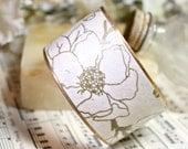 Cherry Blossom Bracelet Brass Cuff Handmade Gold Gilded Paper