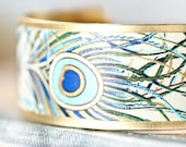 Peacock Bracelet Brass Cuff Feather Cuff Bracelet Handmade Gold Gilded Paper on Brass Cuff