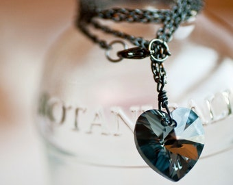 Dark Heart Necklace Faceted Swarovski Crystal Sterling Silver Pendant RARE