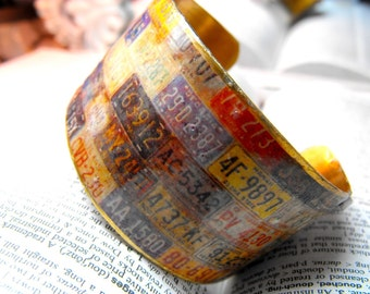 Brass Cuff Bracelet with License  Plates