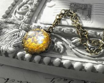 Golden Fire Opal Crystal Vintage Cabochon Pendant Necklace, Fancy Antique Brass Chain