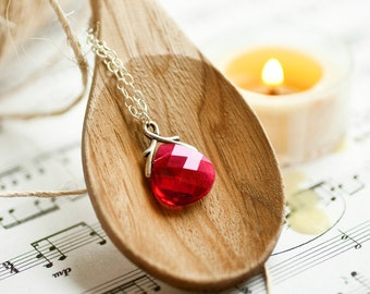 Ruby Swarovski Crystal Necklace in Sterling Silver Teardrop Briolette