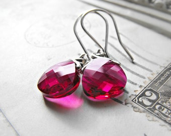 Berry Pink Earrings Swarovski Crystals with Sterling Silver Handmade French Hooks Bridal Bridesmaids Ruby Fushia
