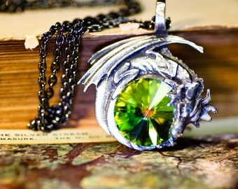 Green Dragon Necklace - Dragon Jewelry Swarovski Crystal with Pewter and Oxidized Sterling Silver Necklace