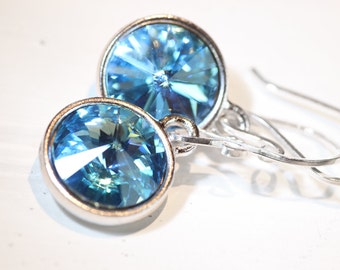 Blue Topaz Sterling Silver Earrings Aquamarine Swarovski Crystals Handmade French Hooks Bridesmaids gift Under 30 Valentine