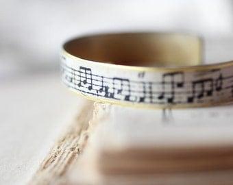 Vintage Music Score Brass Cuff Bracelet Handmade Musical Note Print Cream Handmade Paper on Brass Cuff