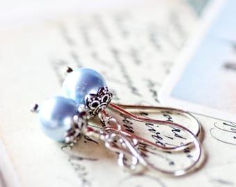 Swarovski Pearl Earring Drops Bridal Sterling Silver Bridesmaid Wedding Gift