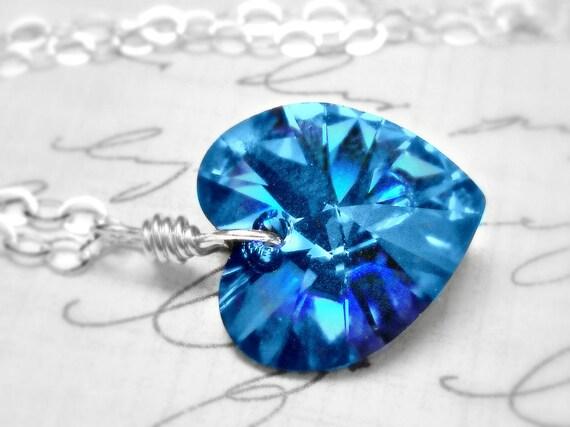 Heart Necklace Swarovski Crystal Sterling Silver Heart Necklace Blue Velvet Wire Wrapped