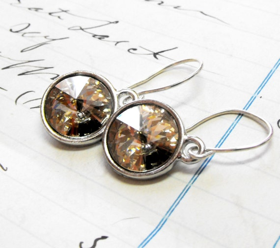 Earrings, Swarovski Crystal Golden Shadow - Sterling Silver Earrings