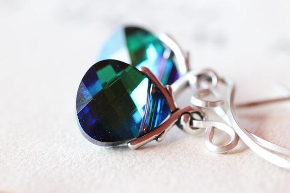Swarovski Crystal Earrings Rare Bermuda Blue Green Swarovski Crystal Earrings in Sterling Silver
