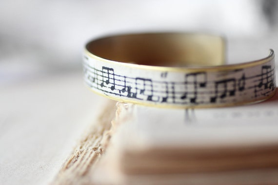 Vintage Music Score Brass Cuff Bracelet Handmade Musical Note Print Cream Handmade Paper on Brass Cuff