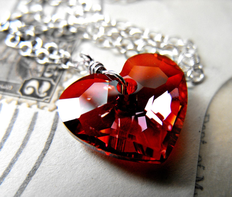 red heart necklace swarovski crystal sterling by. Black Bedroom Furniture Sets. Home Design Ideas