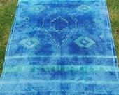 4 ft x 2 ft 10.  Small Pretty Blue Handwoven  Moroccan type cotton Kilim/ Rug/ Carpet