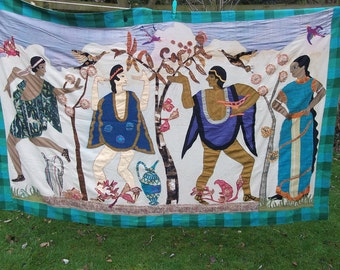 REDUCED: Fun Pictorial Applique Wall hanging.  6 x 4 ft. Hand made. The gods cavorting.