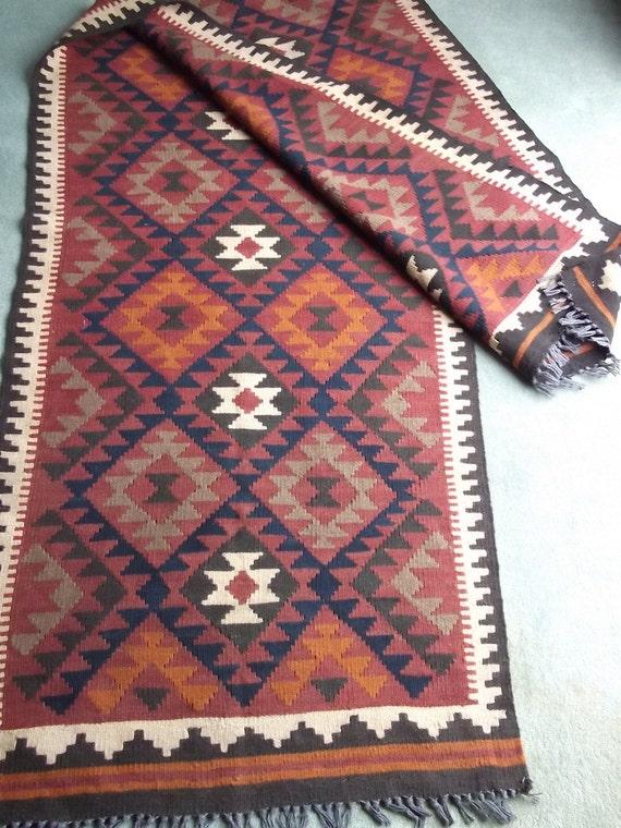 Extra long runner maimana kilim rug carpet by blueteddy on etsy - Extra long carpet runners ...