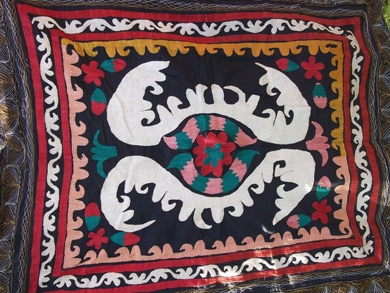 SALE: Antique Bolinpush Tajik Suzani from  Uzbekistan. Throw or wall hanging. Hand embroidered.
