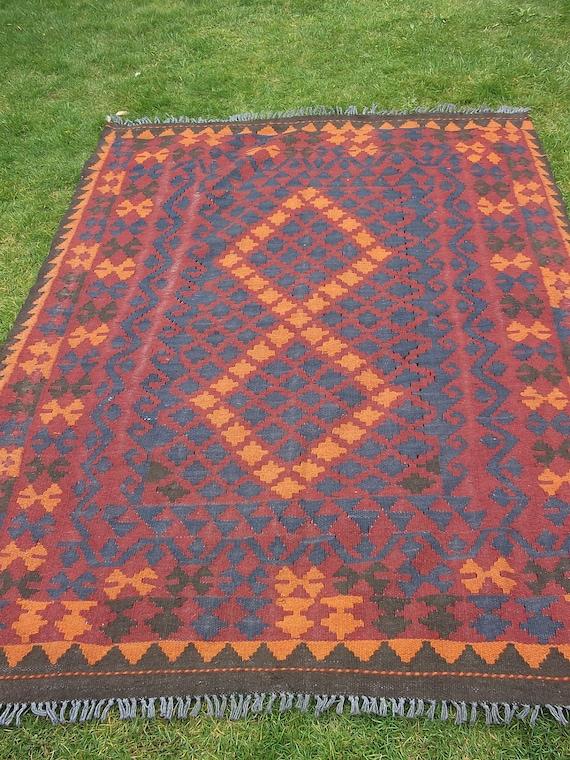 6 x 5 feet. Big Maimana Hand woven Rug/Kilim Mat. Traditional.