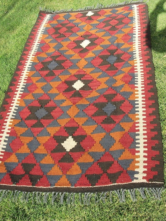 Traditional Maimana Hand woven Rug/Kilim Carpet from Afghanistan.