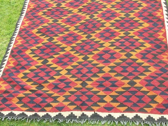 Super Big 9 x 6 Maimana Hand woven Rug/Kilim Carpet from Afghanistan.