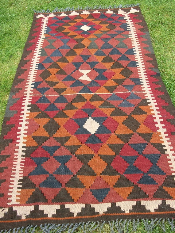 6 x 3 ft Maimana. Hand woven Rug/Kilim Mat from Afghanistan. Bright colours.