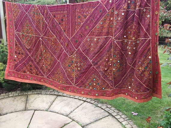 REDUCED:  Big Sparkly Orange Patchwork Bed Cover, Throw. Mirrors. India.