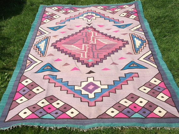 RESERVED FOR KIM: 5 x 3  ft. Pink Colourful Handwoven  Aztec type wool Kilim/ Rug/ Throw