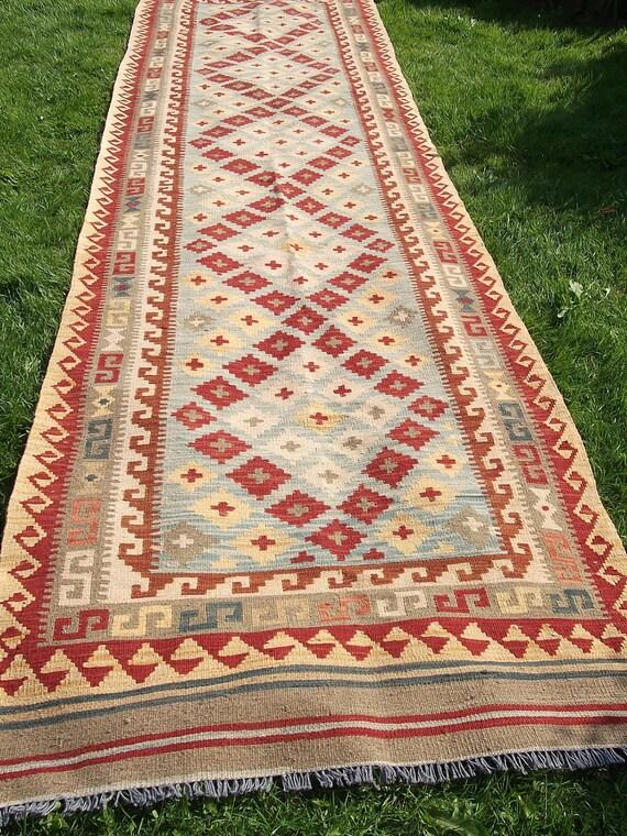 Gorgeous  Long 9 ft Handmade Chobi Wool Runner.  Rug/Kilim/Carpet