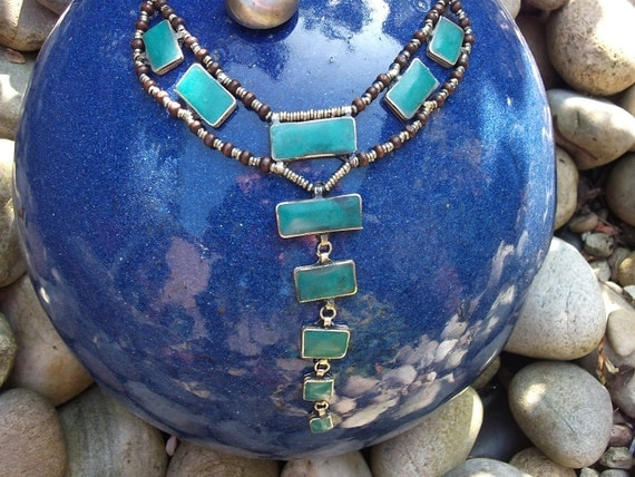 Lovely handmade Kuchi Tribal Necklace. Turquoise color. Hand made.