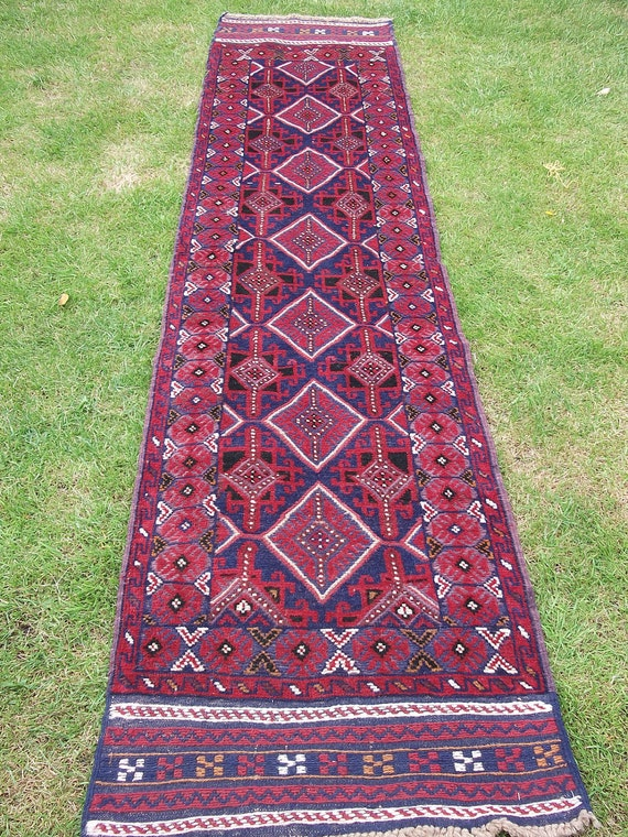 9 ft  Long Red Runner. Hand woven Rug/Kilim Carpet from Afghanistan.