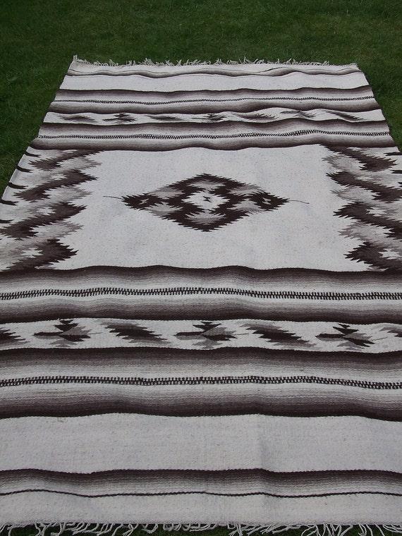 RESERVED: Brown/Black and White  woven wool Rug/Kilim/Carpet. Geometric patterns. Navajo.