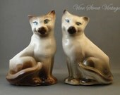 Vintage 1950's Pair Of  Siamese Cat Planters