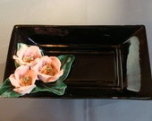 Vintage Retro Black Rectangle Floral Dish