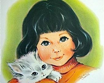 Vintage Irene Charles Girl With Kitten Illustration
