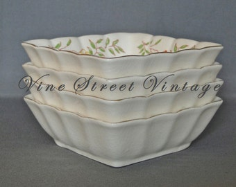 Vintage Set of Four Japanese Square Floral Bowls