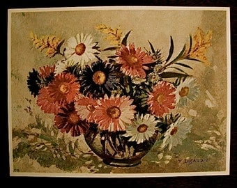 Vintage Floral Still Life Print by Y Duyardin
