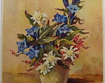 M Riggenbach Vintage Floral Still Life Print.