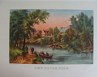 Vintage The River Side Print