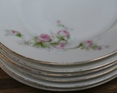 Set of 6 Vintage Pink and White Rose Bavarian China Bread and Butter Plates - Reserved Listing