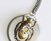Handmade Steampunk Scarab Beetle Pendant Necklace, One of a Kind