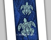 Blue Tribal Turtles Hawaiian Polynesian Tattoo Style, Fine Art Print