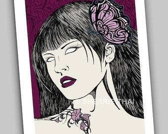 Butterfly Tresses, Zombie Pinup Girl, Dark Fantasy Elegant Horror Portrait Art Print, Sale