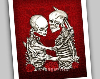 Skeleton Lovers Gothic Fine Art Print, Love & Hate